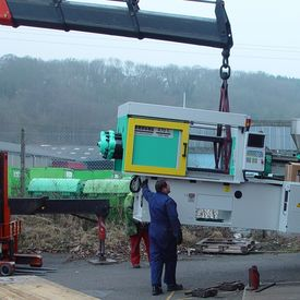 AKI takes delivery of latest Arburg injection moulding machine - Arburg 150T Delivery 1
